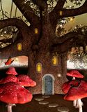 Fantasy house inside an old tree royalty free illustration