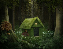 Fantasy house of moss. Little house of moss in an enchanted forest Royalty Free Stock Images