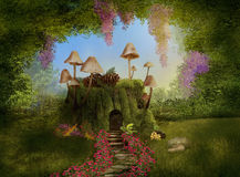 Fantasy house on a tree trunk. 3D. Fantasy house on a tree trunk with mushrooms in a foerest. 3D rendering Royalty Free Stock Photos