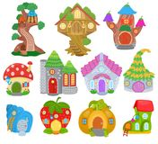 Fantasy house vector cartoon fairy treehouse and magic housing village illustration set of kids fairytale pumpkin or. Strawberry playhouse for gnome isolated on vector illustration