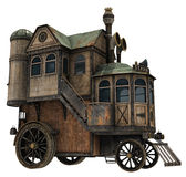 Fantasy house on wheels. 3D render of a fantasy house on wheels Stock Photo
