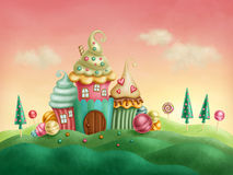Fantasy houses. From the cupcakes vector illustration
