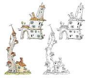 Fantasy houses illustration Royalty Free Stock Photo