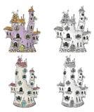 Fantasy houses illustration Stock Photo