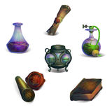 Fantasy Icons. Fantasy medieval sorcerers items Icons set stock illustration