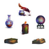 Fantasy Icons. Fantasy medieval sorcerers items Icons set vector illustration