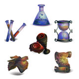 Fantasy Icons. Fantasy medieval sorcerers items Icons set royalty free illustration