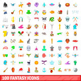 100 fantasy icons set, cartoon style. 100 fantasy icons set in cartoon style for any design vector illustration Royalty Free Stock Image