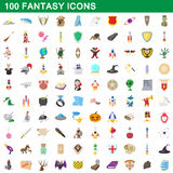 100 fantasy icons set, cartoon style Royalty Free Stock Photography