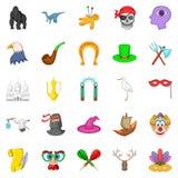 Fantasy icons set, cartoon style. Fantasy icons set. Cartoon set of 25 fantasy vector icons for web isolated on white background Stock Photos