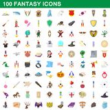 100 fantasy icons set, cartoon style. 100 fantasy icons set in cartoon style for any design illustration royalty free illustration