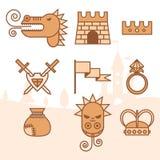 Fantasy icons set Stock Photos