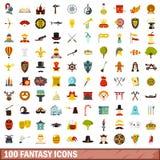 100 fantasy icons set, flat style Stock Images