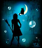 Fantasy illustration. Witch and her cat in the magic forest Royalty Free Stock Image