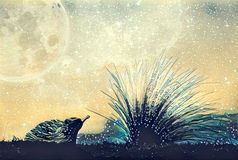 Fantasy illustration artwork - alien landscape of echidna and be Stock Photo