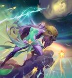 Fantasy illustration of a beautiful lightning goddess Stock Photography