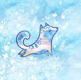 Good vibes card with fllowers and white polar fox in cartoon style. Blue decorative background. Fantasy illustration with cartoon arctic fox, flowers and text Royalty Free Stock Images