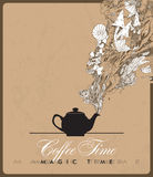 Fantasy illustration of coffee-pot. Royalty Free Stock Images