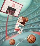 Basketball basket. Fantasy illustration with girl throwing ball in basketball basket. Computer graphics stock illustration