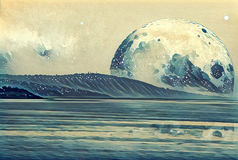 Fantasy illustration - landscape of an alien planet - huge moon. Reflects in the ocean Stock Photography