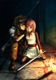 Fantasy illustration of a modern sniper kissing a cute warrior g. Irl in dark dungeon Stock Images