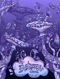 Fantasy illustration mushrooms land in Zen doodle style blue  lilac  night Royalty Free Stock Photo