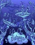 Fantasy illustration mushrooms land in Zen doodle style blue  night Royalty Free Stock Photo