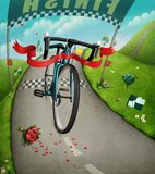 Finishing tape. Fantasy illustration with red finishing tape, cycling race. Computer graphics vector illustration