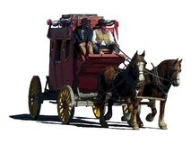 Fantasy illustration of a stagecoach traveling to the right stock illustration