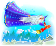 Fantasy illustration of wizard flying in the fairyland sky and coloring the winter forest with snow. Vector cartoon image.  Scale to any size without loss of Stock Image