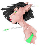 Fantasy drawing of a woman-cat Royalty Free Stock Photo