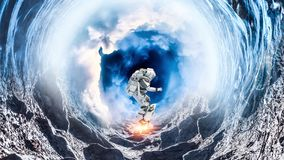 Space hole and astronaut. Mixed media. Fantasy image with astronaut in space hole. Elements of this image are furnished by NASA Stock Photos