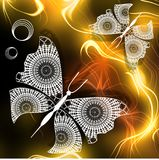 Fantasy image Lace butterflies in honey paradise. In composition using fractal background Royalty Free Stock Image