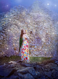 Fantasy image of a woman near ruins Stock Photography