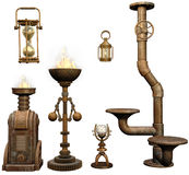 Fantasy iron objects. 3D render of fantasy iron lamps, pipes and other objects Stock Photos