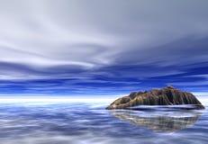 Fantasy island. Island in a glowy ocean Stock Photo