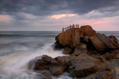 The fantasy island. Altar of rock in santa cruz beach, Portugal Royalty Free Stock Photography