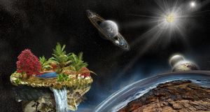 3d Illustration of fantasy island in space. Fantasy island on a background of outer space and planets. 3d illustration. No used NASA images Royalty Free Stock Photography