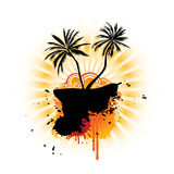 Fantasy Island With Banner. Abstract island with a tree and various design elements royalty free illustration
