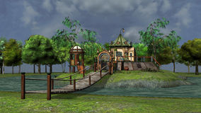 Fantasy island. 3D rendered illustration of fantasy island during day Stock Photos