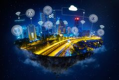 Fantasy island floating in the air. With smart city and wireless communication network , Smart city and communication network concept royalty free stock photo