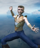 Fantasy Island Warrior. 3d render of an anime boy with fantasy island setting Royalty Free Stock Image