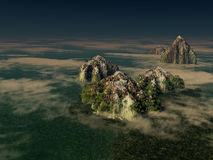 Fantasy islands. With low fog clouds and sea Stock Image