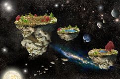 Fantasy Islands in space Royalty Free Stock Photo