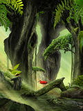Fantasy Jungle Landscape. With fern and river stock photo