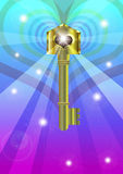 Fantasy key. A illustration for a fantasy key floating and a light from the hole Stock Image