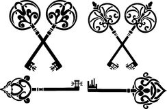 Fantasy key set stencil stock illustration