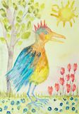 Fantasy king bird with tree sun and flowers. The dabbing technique gives a soft focus effect due to the altered surface roughness of the paper stock illustration