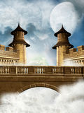 Fantasy Kingdom. With bridge and waves Stock Image