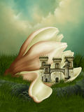 Fantasy Kingdom. In a flower Stock Image
